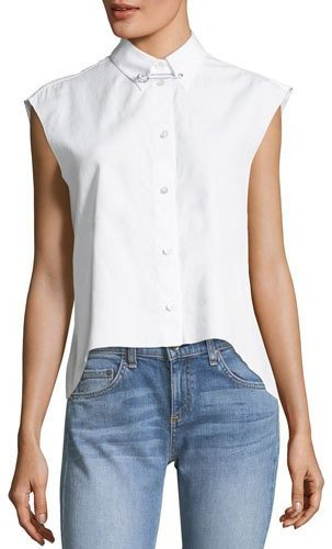 Helmut Lang Button-Front Sleeveless Cropped Poplin Shirt