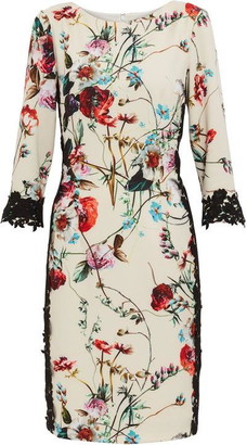 Gina Bacconi Liddie Floral Jersey And Lace Dress