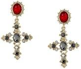 GUESS Vintage Look Cross Drop Earrings (Gold/Red) Earring
