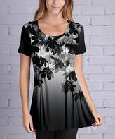 Azalea Silver & Black Floral Swing Tunic - Plus Too