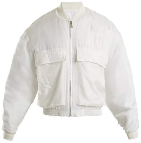 Katharine Hamnett Raffa Silk Bomber Jacket - Womens - White