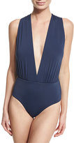 Vix Plunge-Neck Solid One-Piece Swimsuit