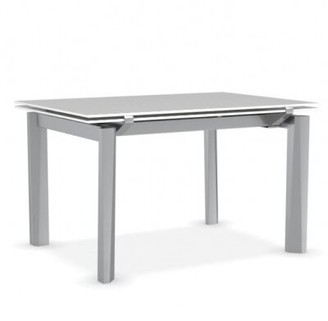Calligaris Esteso Extendable Dining Table Base Color: Satin Steel, Top Color: Frosted Extraclear Glass