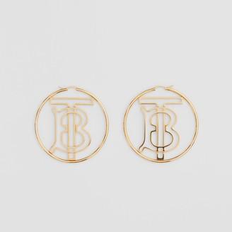Burberry Gold-plated Monogram Motif Hoop Earrings