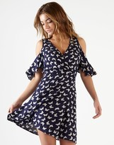 Lipsy Butterfly Print Cold Shoulder Wrap Dress