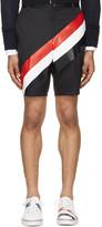 Thom Browne Navy Diagonal Stripe Unconstructed Chino Shorts