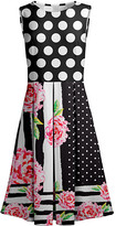 Lily Women's Casual Dresses BLK - Black & Pink Polka Dot Pleated Fit & Flare Dress - Women & Plus