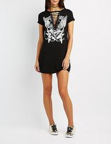 Charlotte Russe Graphic Lace-Up T-Shirt Dress