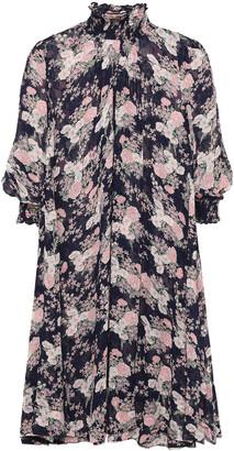 By Ti Mo Shirred Floral-print Fil Coupe Woven Mini Dress