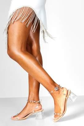 boohoo Embellished Clear 2 Part Low Block Heels