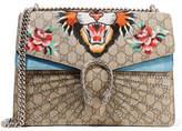 Gucci Dionysus Medium Appliquéd Coated-canvas And Suede Shoulder Bag - Beige