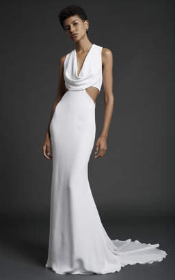 Cushnie Sleeveless Gown With Cowl At Front Neck And Cut Out At Sides