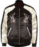 River Island Womens Black satin embroidered reversible bomber