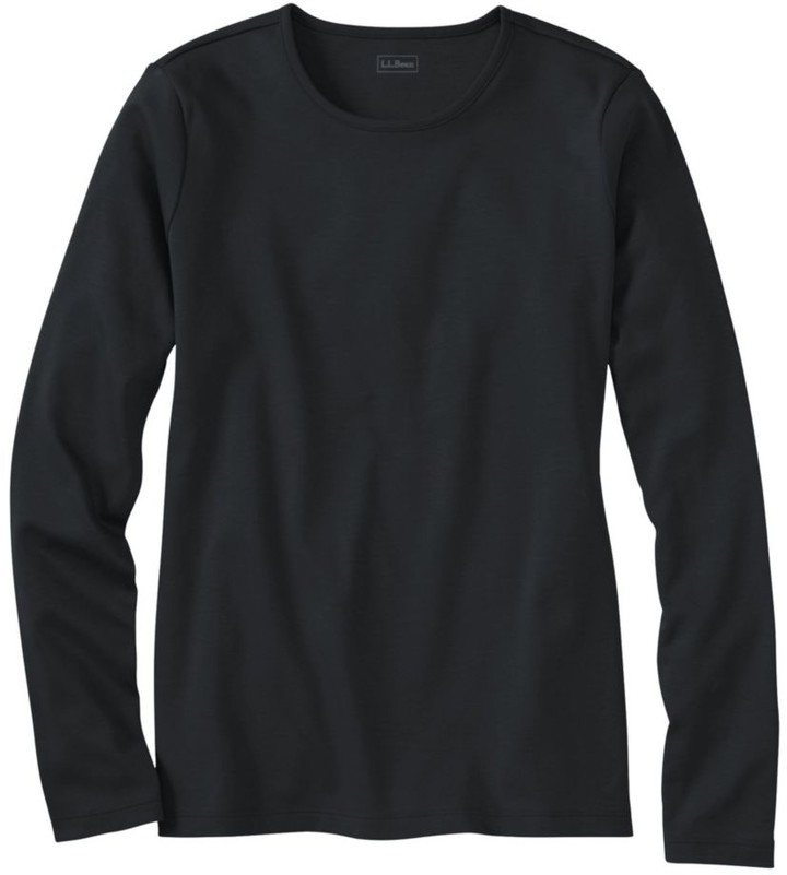 L.L. Bean L.L.Bean Women's Pima Cotton Tee, Long-Sleeve Crewneck