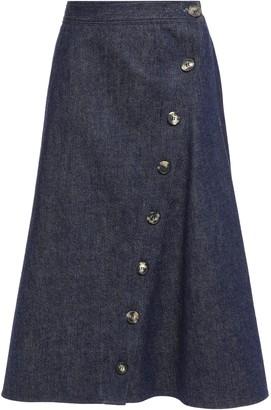 Carolina Herrera Flared Button-detailed Denim Midi Skirt