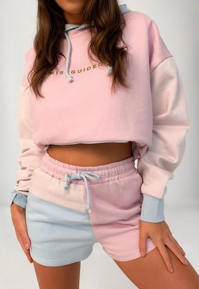 Missguided Pink Color Block Drawstring Shorts