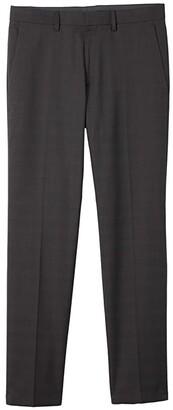 Kenneth Cole Reaction Stretch Tonal Plaid Slim Fit Flat Front Flex Waistband Dress Pants (Charcoal) Men's Dress Pants