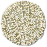 One Kings Lane Set of 4 Mix Bead Coasters - Silver/White