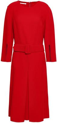 Oscar de la Renta Belted Wool-blend Crepe Dress