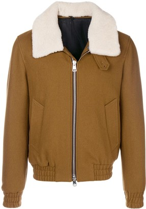 Ami Paris Shearling Collar Zipped Jacket