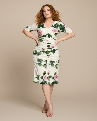 Dolce & Gabbana V-Neck Floral Dress with Ruching