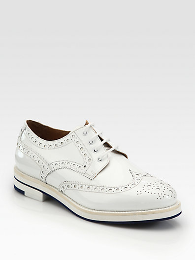 Giorgio Armani Perforated Patent Leather Lace-Up Oxfords