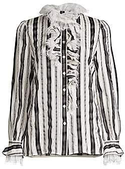Tory Burch Women's Stripe Bow Sequin Dot Stretch-Silk Blouse - Size 0