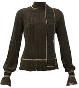 Peter Pilotto Scarf-neck Plisse Metallic-knit Sweater - Womens - Black