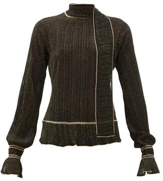 Peter Pilotto Scarf-neck Plisse Metallic-knit Sweater - Womens - Black