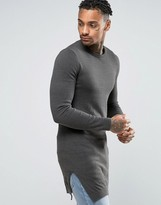 Asos Muscle Fit Super Longline Crew Neck with Side Splits