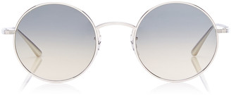 Oliver Peoples After Midnight Round-Frame Metal Sunglasses
