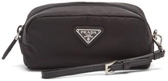 Prada Logo Plaque Wristlet-strap Nylon Wash Bag - Black