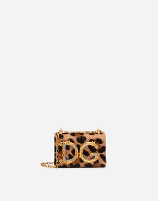 Dolce & Gabbana Girls Micro Bag In Leopard-Print Pony Hair