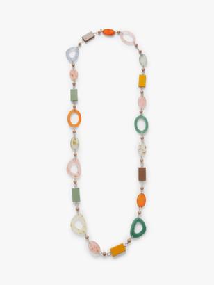 One Button Retro Long Bead Necklace, Multi