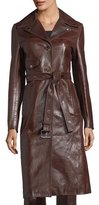Helmut Lang Leather Button-Front Belted Biker Coat