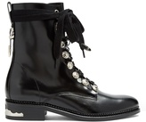 Toga Buckle and lace-up leather ankle boots