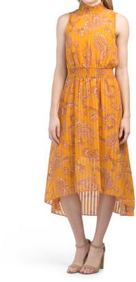 Sleeveless Floral Shadow Stripe Print Maxi Dress