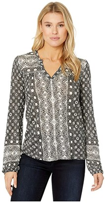 Lucky Brand Long Sleeve Printed Top (Black Multi) Women's Clothing