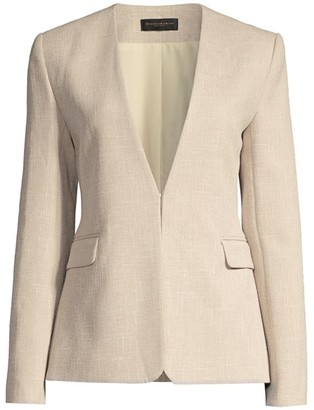 Donna Karan Collarless Tweed Jacket