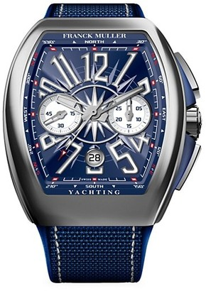 Franck Muller Vanguard Yachting Stainless Steel Alligator Rubber Strap Chronograph Watch