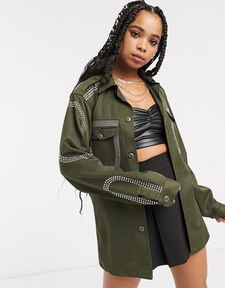 Milk It vintage oversized military jacket with diamante embellishment-Green