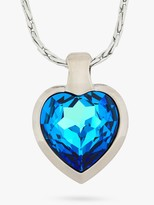 Swarovski Eclectica Vintage Rhodium Plated Crystal Heart Pendant Necklace, Blue