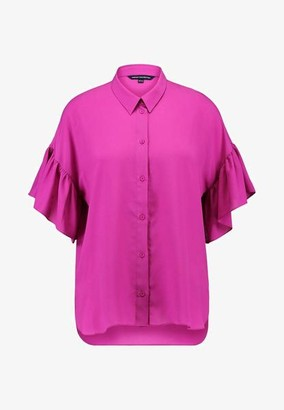 French Connection Ruffle Sleeve Shirt - XS / Pure Passion