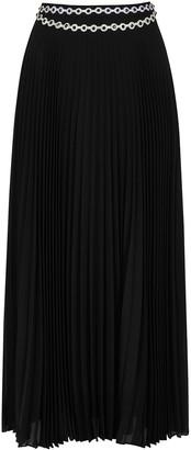 Christopher Kane Black crystal-embellished pleated maxi skirt