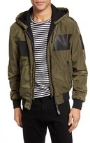 Mackage Men's Leather Trim Hooded Bomber Jacket