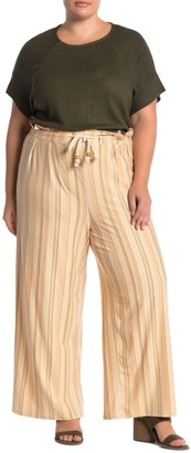 Planet Gold Rope Drawstring Patterned Pants (Plus Size)