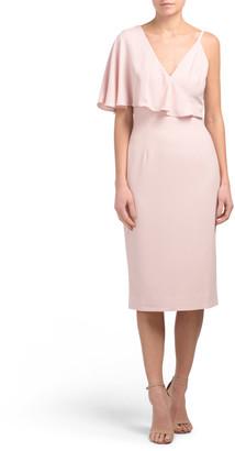 Beth Asymmetrical Ruffle Sleeve Midi Dress