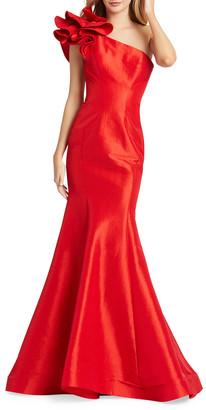 Mac Duggal Asymmetric Ruffle Taffeta Mermaid Gown