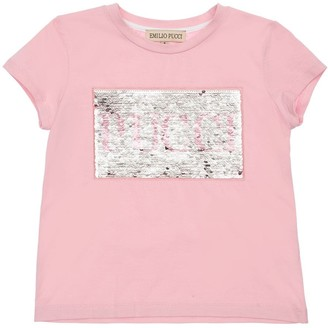 Emilio Pucci Sequined Logo Cotton Jersey T-shirt
