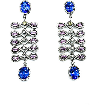 Arthur Marder Fine Jewelry 14K & Silver 6.50 Ct. Tw. Diamond & Tanzanite Earrings